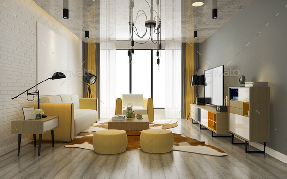 3d rendering luxury and modern yellow living room with sofa - Stock Photo - Images