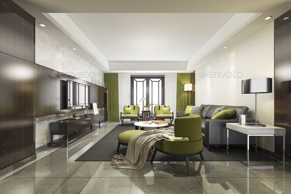 3d rendering luxury and modern green  living room with sofa - Stock Photo - Images