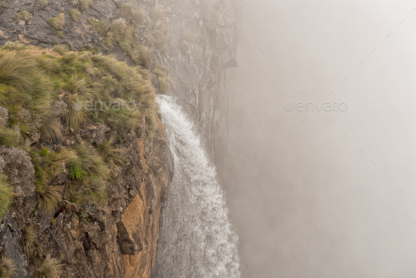 Top of the Tugela Falls, second tallest waterfall on earth - Stock Photo - Images