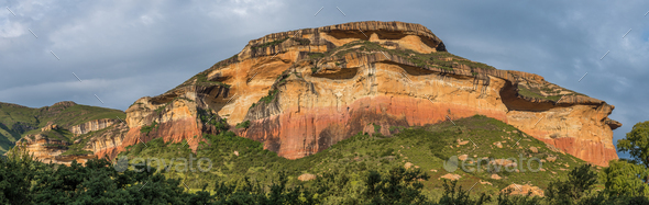 Panoramic view of the Mushroom Rocks at sunset - Stock Photo - Images