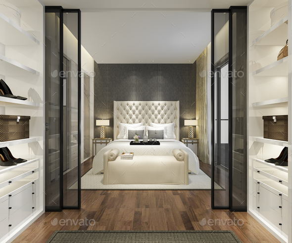 3d rendering luxury modern bedroom suite tv with wardrobe and walk in closet - Stock Photo - Images