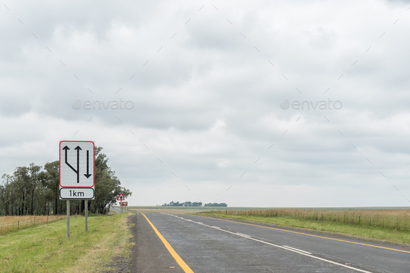 Start of dual carriageway road sign on road N5 - Stock Photo - Images