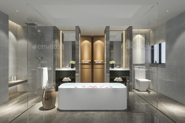 3d rendering modern bathroom with luxury tile decor - Stock Photo - Images