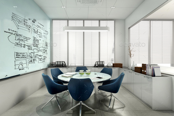 3d rendering business meeting room on high rise office building - Stock Photo - Images