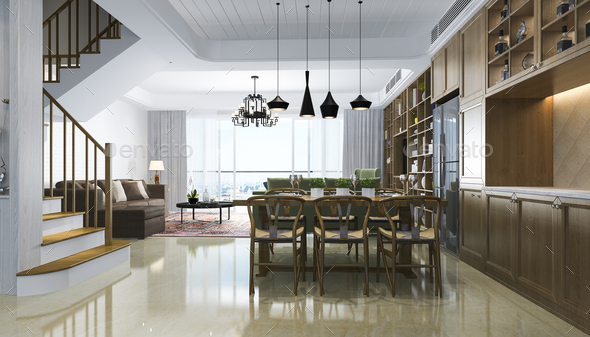 3d rendering modern dining room and chineese living room with luxury decor - Stock Photo - Images