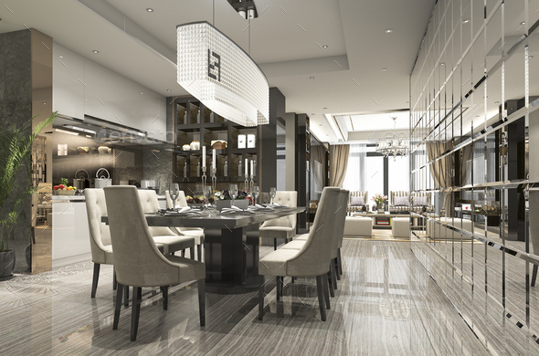 3d rendering luxury and modern restaurant and dining zone - Stock Photo - Images