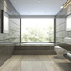 3d rendering modern classic bathroom with luxury tile decor with nice nature view from window - PhotoDune Item for Sale