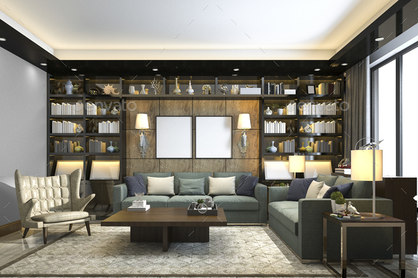 3d rendering loft luxury living room with bookshelf and library - Stock Photo - Images