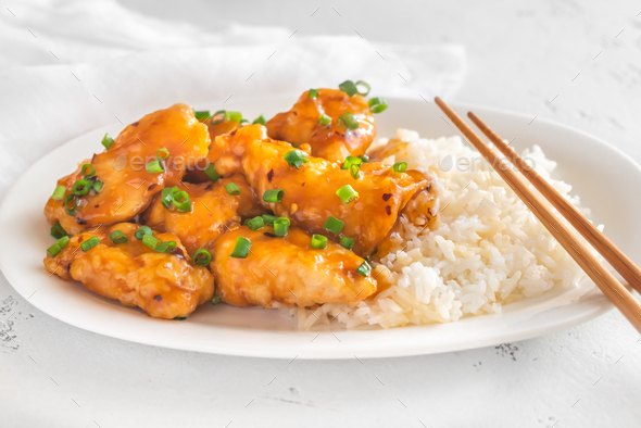 Portion of orange chicken - Stock Photo - Images