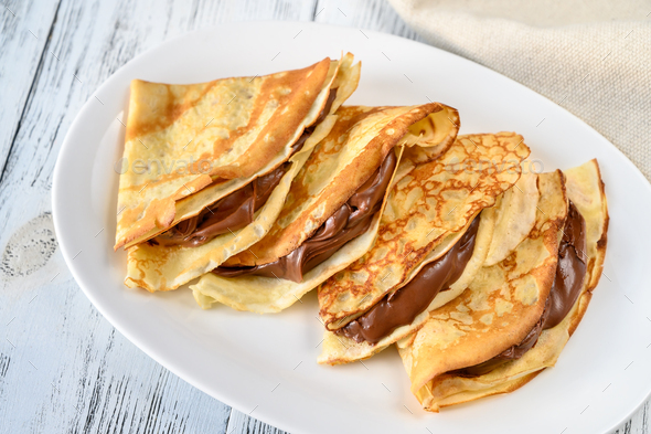 Crepes with chocolate cream - Stock Photo - Images