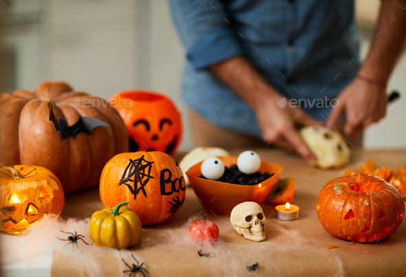 Beautiful pumpkin lanterns for holiday - Stock Photo - Images