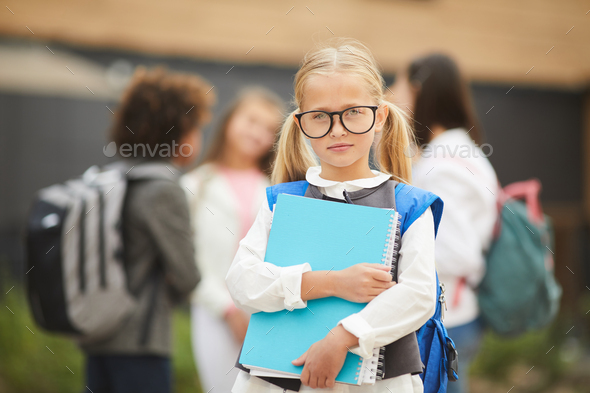 Little girl is going to school - Stock Photo - Images