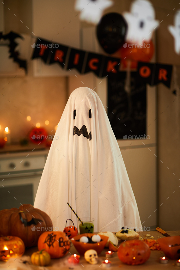 Child in costume of ghost - Stock Photo - Images