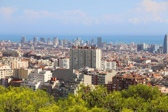 Beautiful view of Barcelona, Catalonia, Spain - Stock Photo - Images