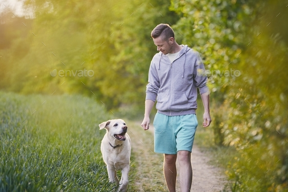 Man with dog on footpath - Stock Photo - Images