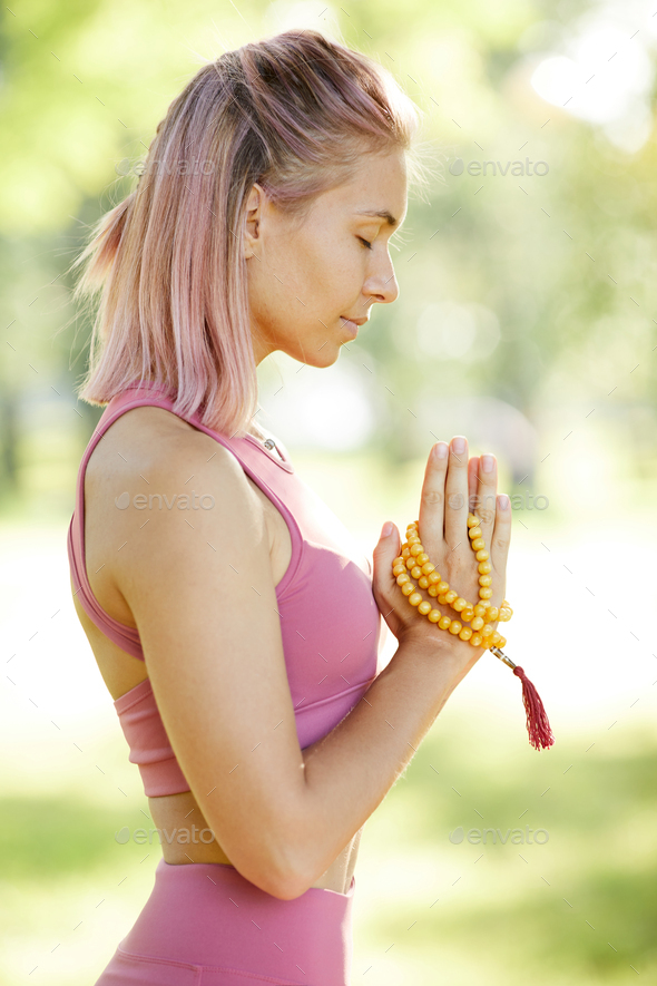 Woman concentrating on her relaxation - Stock Photo - Images