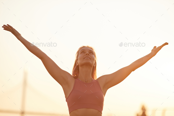 Young woman enjoying the nature - Stock Photo - Images