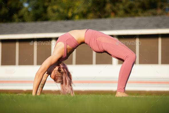 Stretching exercise outdoors - Stock Photo - Images