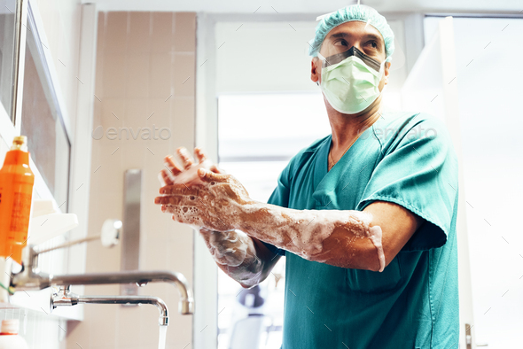Doctor Washing Hands Before Operating. - Stock Photo - Images