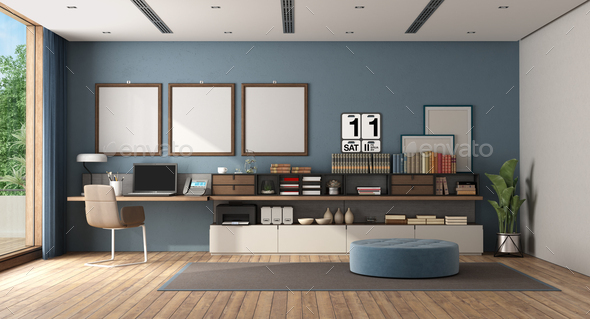 Work at home in a large white and blue room - Stock Photo - Images