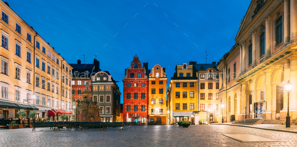 Stockholm, Sweden. Famous Old Colorful Houses, Swedish Academy and Nobel Museum In Old Square - Stock Photo - Images