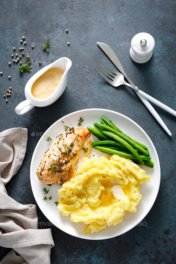 Grilled chicken breast with mashed potatoes and green beans - Stock Photo - Images