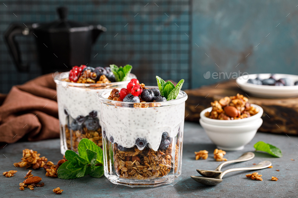 Layered blueberry and red currant parfait - Stock Photo - Images