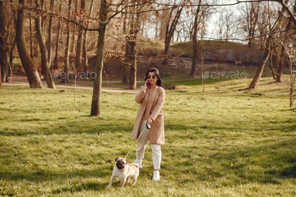 Brunette in a brown coat walks with pug - Stock Photo - Images