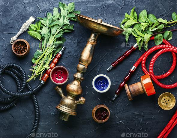 Tobacco shisha with mint - Stock Photo - Images