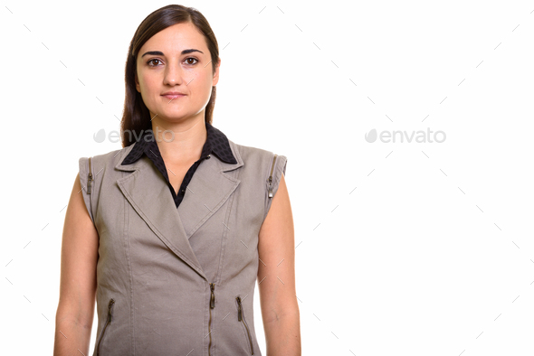 Portrait of young beautiful businesswoman looking at camera - Stock Photo - Images