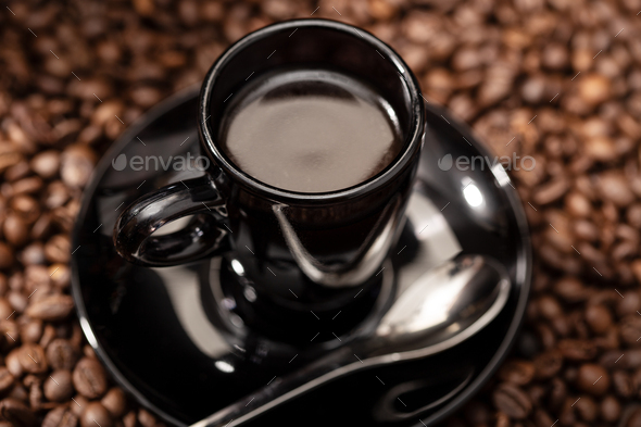 Espresso Coffee in black cup - Stock Photo - Images