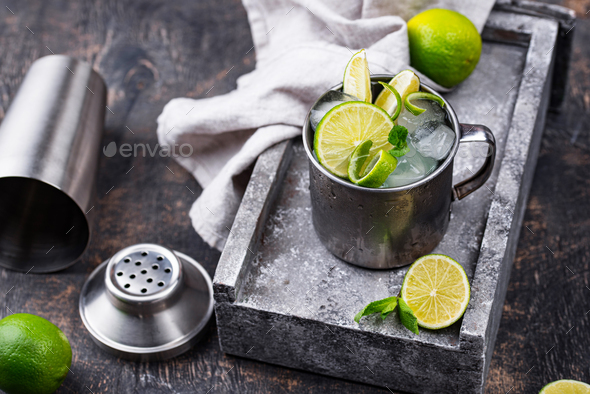 Moscow mule cocktail in mug - Stock Photo - Images