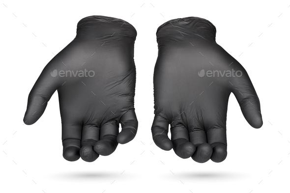 Black nitrile gloves isolated on white background. - Stock Photo - Images