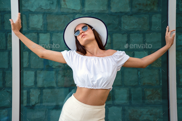 Emotional portrait of fashion stylish portrait of pretty woman - Stock Photo - Images