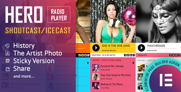Download Hero – Shoutcast and Icecast Radio Player With History – Elementor Widget Addon Free Nulled