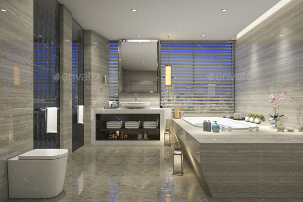 3d Rendering Night View Bathroom With Modern Luxury Design Stock Photo By Dit26978