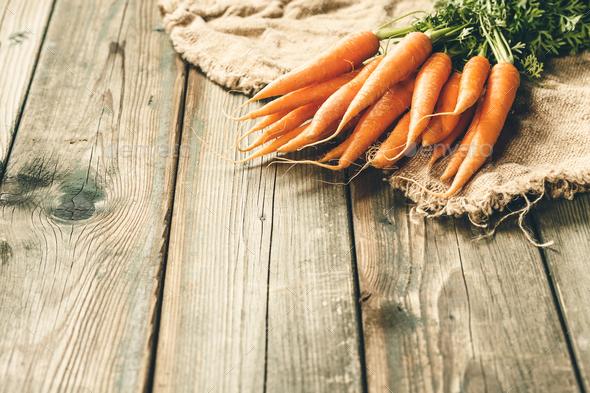 Fresh Carrots bunch. Thanksgiving, autumn, harvest, halloween concept - Stock Photo - Images