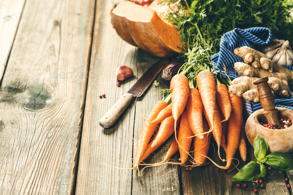 Healthy food cooking background. Thanksgiving, autumn, harvest, halloween concept - Stock Photo - Images
