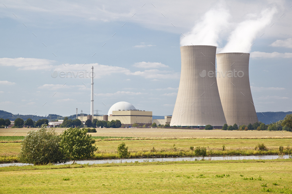 Nuclear Power Station In River Landscape - Stock Photo - Images