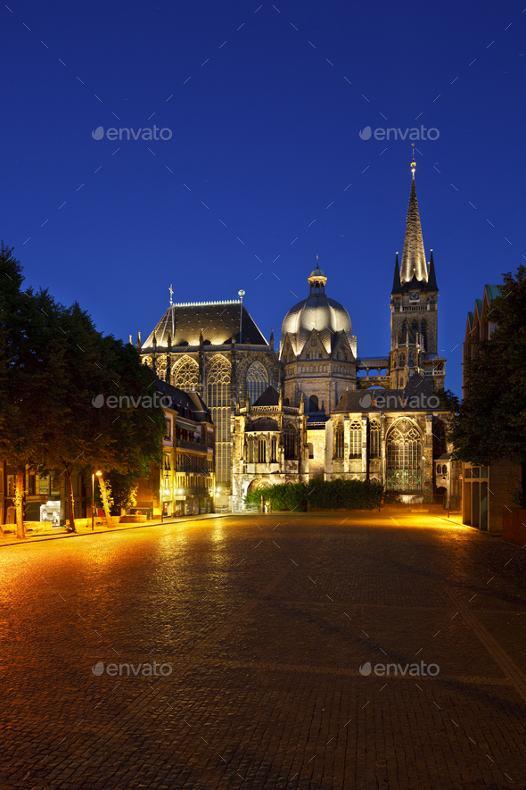 Aachen Cathedral At Night, Germany - Stock Photo - Images