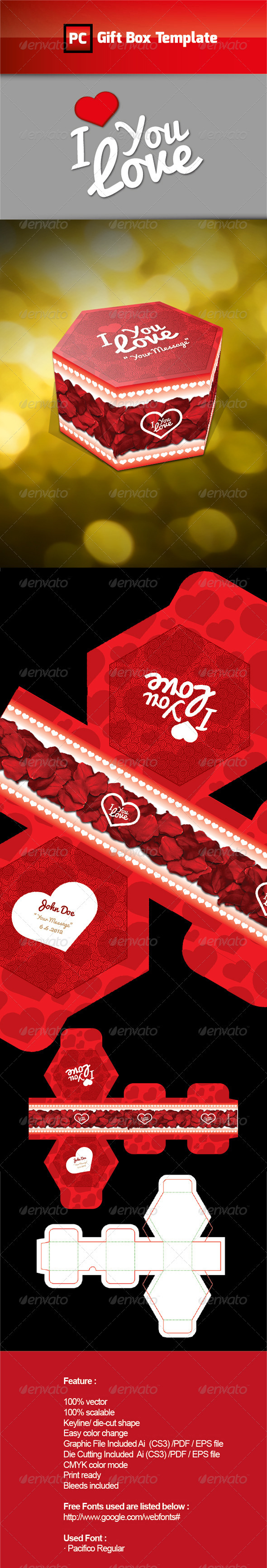 I LOVE Gift Box Template - Packaging Print Templates