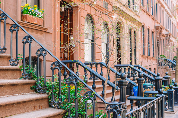 Empty streets in West Village at New York Manhattan, USA - Stock Photo - Images