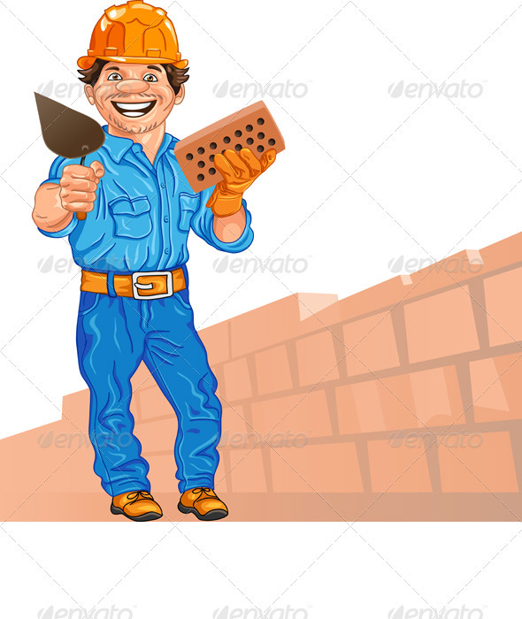 vector cheerful bricklayer with brick and trowel - People Characters