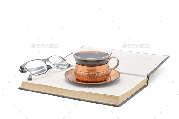 Coffee with Book and Reading Glasses - Stock Photo - Images