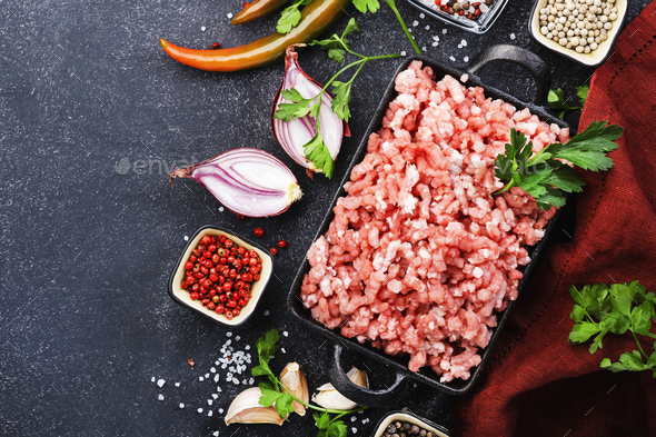 Mince, ground minced meat with ingredients for cooking - Stock Photo - Images