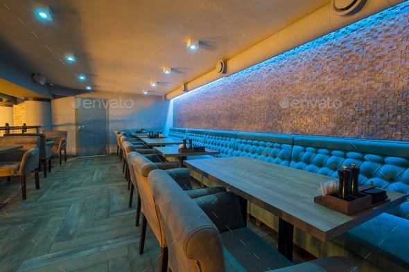 Empty restaurant interior, quarantine concept, take away - Stock Photo - Images
