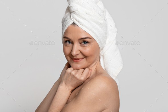 Portrait Of Attractive Nude Middle-Aged Woman With Towel On Head - Stock Photo - Images