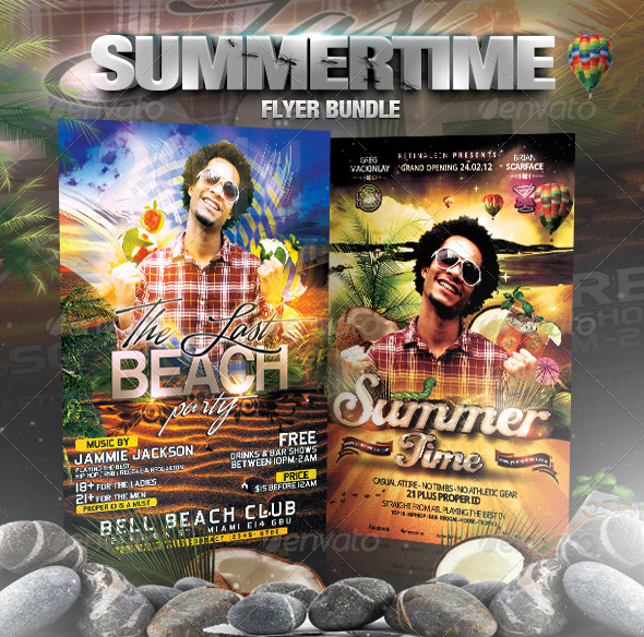 Summertime Flyer Bundle - 5in1 - Flyers Print Templates