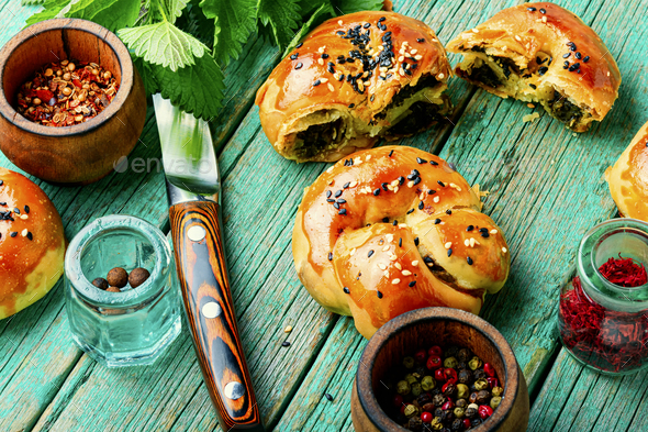 Homemade buns with nettles. - Stock Photo - Images