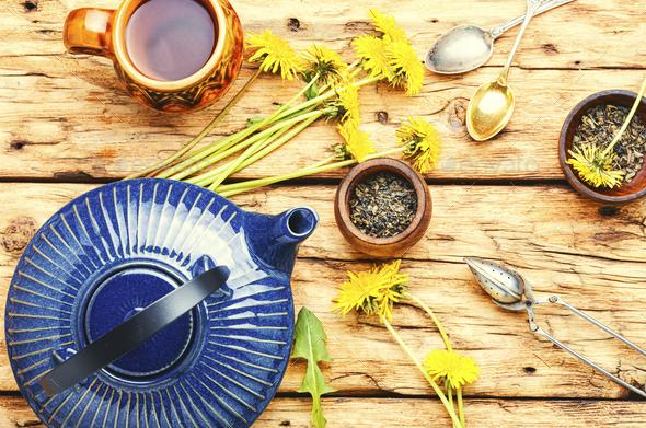 Dandelion herbal tea - Stock Photo - Images